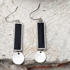 Silver and Leather Dangles Earrings Black Silver